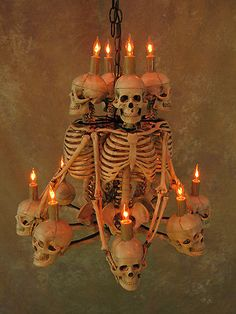 Four Skeleton Chandelier Prop Human Skeletons Skulls New