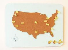 Map pin board//Residents posting where they have been & want to go!