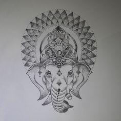 GANPATI DOTWORK Lotus Tattoo, Mandala Tattoo, Mandala Art, Tattoo Ink, Elefante Tattoo, Yogi Tattoo, Arm Tattoos, Sleeve Tattoos, Ganesh Tattoo