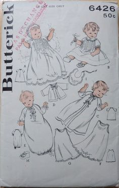 Vintage  Sewing Pattern Butterick 6426 INFANT'S LAYETTE with Embroidery Transfer