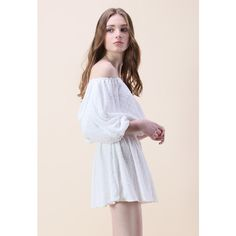 Chicwish Free Spirit Flock Off-shoulder Dress in White ($53) ❤ liked on Polyvore featuring dresses, white cocktail dress, off shoulder dress, off the shoulder cocktail dress, white dress and off shoulder cocktail dress