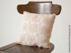 Винтажная вязаная крючком кремовая наволочка - винтажный стиль,украшение интерьера