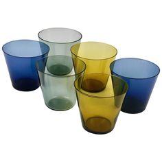Six Kaj Franck Kartio Mid-Century Drinking Glasses by Nuutajarvi Nottsjo Finland Liquor Glasses, Modern Glass, Scandinavian Modern, Glass Design, Finland, Decorative Bowls, Mid Century, Contemporary Design, Retro