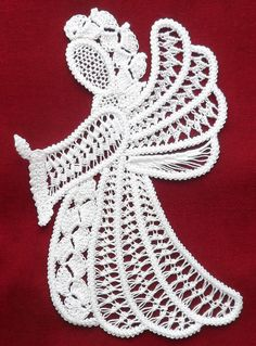 Praying Angel 80CW Romanian Point Lace by ElenasRomanianLace