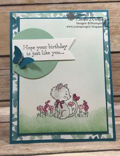 Just Sponge It: Time for the Stampin' Up! Only Challenge Hand Made Greeting Cards, Making Greeting Cards, Dog Cards, Bird Cards, Pretty Cats, Pretty Kitty, Stamping Up Cards, Animal Cards, Cards For Friends