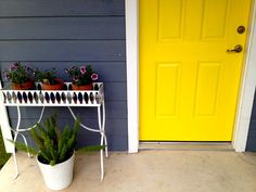 Fun, Happy Front Door. Sherwin Williams Confident Yellow.