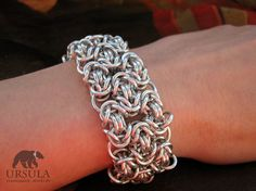 Chainmaille bracelet in Bastardized Byzantine Classy and eye-catching piece of jewelry - a chunky bracelet made of beautiful shiny aluminium. The weave is very popular and appreciated Bastardized Byzantine, often known as 'royal weave', $29