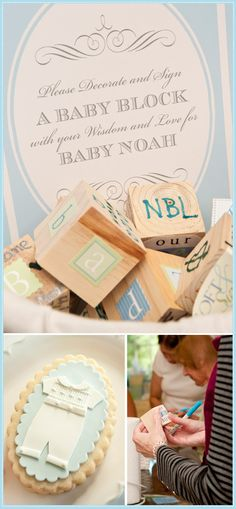 this baby shower looks amazing - and i love the idea of decorating wooden blocks!