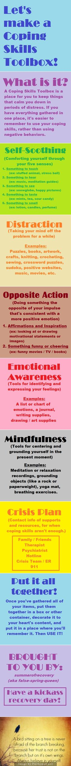 Let's make a Coping Skills Toolbox. Graphic color boxed #Infographic #emotion