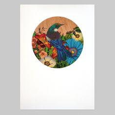 Tui Round Print by Flox - Art Prints NZ Art Prints, Design Prints, Posters &… Framed Art Prints, Poster Prints, Posters, Wall Prints, Sparrow Art, Pick Art, Bird Stencil, New Zealand Art, Maori Tattoo Designs