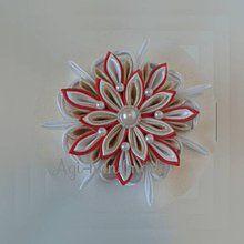 Dekorácie - vianočná vločka kanzashi - 7347888_