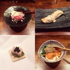 Clockwise from the top left: 1.Chopped Toro with Blue Crab Tartare topped with truffle cheese and quail egg 2. Sautéed  Japanese Sea Bass with truffled tar tar sauce on top 3. Japanese Tofu with Hokkaido uni summer truffles ikura and scallion 4. Foie gras torchon truffles avocado and caviar on cracker. Such creative dishes! #toro #bluecrab #uni #seaurchin #seafood #caviar #truffle #truffles #whitetruffle #tofu #yamakase #omakase #kaiseki #japanesefood #japanesecuisine #sushi #sashimi by…