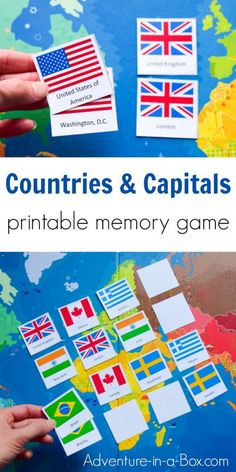 Countries & Capitals is a printable memory matching game designed to help children and adults with learning the countries of the world, their capitals and flags. This would be great for large or small group instruction. Around The World Crafts For Kids, Around The World Games, Maps For Kids, Creative Activities For Kids, Activities For Adults, Craft Activities, Geography Games For Kids, Memory Games For Kids, Countries And Flags