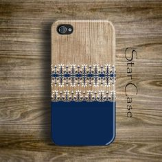 Blue iPhone 5 Case, iPhone 5s Case Navy, Wood Print iPhone 5C Case, Floral iPhone 4 Case, Girly iPhone 5 Case, Boho iPhone Case by Star Case