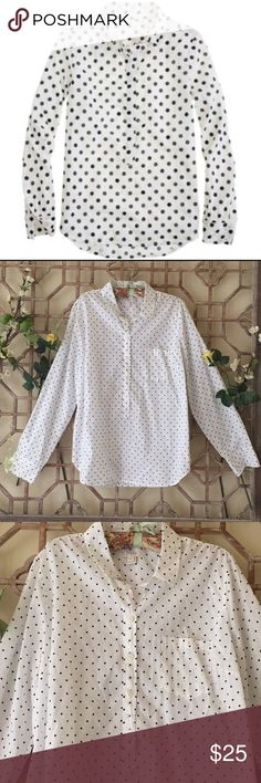 """J Crew white pop over shirt with black polka dots Forever chic! Pop over white collar shirt with black polka dots.Length 26"""" bust 19"""" Curved hem and front pocket. J. Crew Tops Button Down Shirts"""