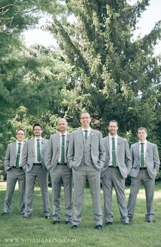 Slick Grey Suits with Forest Green Ties || Groomsmen Photo Ideas || NovaMarkina Photography || See more of this Windermere Manor Wedding here: http://www.novamarkina.com/blog/windermere-manor-wedding-photography-k-j