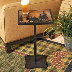 Decor, Wood Decor, Drink Table, Natural Home Decor, Cabin Decor, Table, Iron Table, Mantel Decorations, Bear Decor