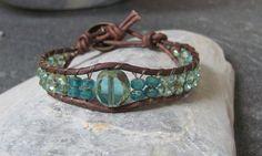 Ocean Blue and Green Czech Glass Beaded Leather  Bracelet