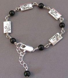 Silver Flower Vine Bracelet Black Onyx Jewelry