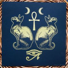The Amulets of Bastet. Original by PoisonApplePrintshop on Etsy Egyptian Cat Goddess, Egyptian Cats, Egyptian Mythology, Egyptian Drawings, Sphynx, Louis Vuitton Online, Egyptian Tattoo, Louis Vuitton Accessories, Cat Tattoo