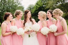 Beautiful bride and bridesmaids at silchester house - hydrangea bouquets. Brides And Bridesmaids, Bridesmaid Dresses, Wedding Dresses, Hydrangea Bouquet, Beautiful Bride, Funeral, Wedding Events, Summer Weddings, Bouquets