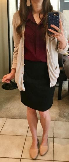 Beige boyfriend cardigan, burgundy button-up, black pencil skirt, pointed nude and gold d'orsay flats.