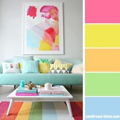 Pastel multi-colored living room