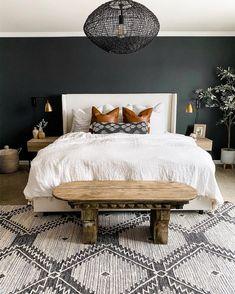 ORC Week One: Dark & Moody Master Bedroom Inspiration - Miranda Schroeder Decor Scandinavian, White Duvet, Couple Bedroom, Home Decor Bedroom, 70s Bedroom, Bedroom Accent Walls, Bedroom Wall Lights, Brown Bedroom Walls, Classy Bedroom Decor
