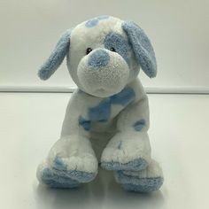 Ty Pluffies Baby Pups Puppy Dog White Blue Spots 2006 Plush Sewn Eyes Soft Toy #Ty