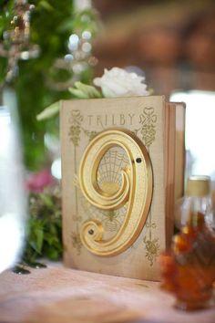 Originalísimos números de mesa. Hechos con la numeración para las casas en metal dorado montados sobre libros vintage para una boda en una granja en Vermont -