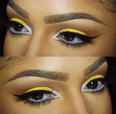 """Eye details 💛 Cosmetics tako on inner lid and buttercupcake and Cosmetics hot yellow all over lid. Nyx milk liner as my base and in waterline. Mac uninterrupted and soft brown in the crease. """"barb"""" and """"kim"""" lashes. Love Makeup, Makeup Tips, Makeup Looks, Hair Makeup, Fun Makeup, Makeup Videos, Eyeshadow Makeup, Maquillage On Fleek, Flutter Lashes"""