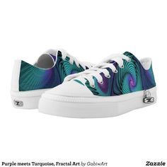 Purple meets Turquoise, Fractal Art Low-Top Sneakers