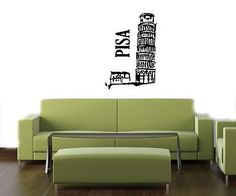TOWER OF PISA ITALY WALL VINYL STICKER DECAL MURAL ART T296
