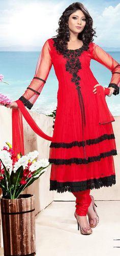 $145.05 Red Full Sleeve Net Long Anarkali Salwar Kameez 21395