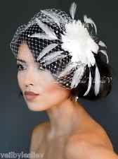 Feather Fascinator with WHITE Rhinestone Bridal Birdcage Veil 27-55e
