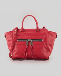 Milly | Riley Goatskin Tote Bag, Red - CUSP