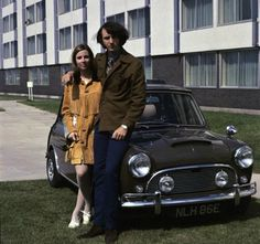 Mike Nesmith & his wife Phyllis with their Mini Cooper S