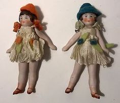 2-Antique-All-Bisque-Jointed-2-75-034-Hertwig-German-Miniature-Dollhouse-Dolls