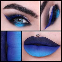 STUNNING blue ombre glam by @missjazminad!