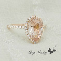2.35 Ct. Pear Cut Halo Morganite & Diamond by AnyeJewelry on Etsy