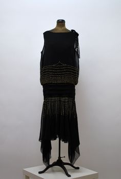 #1920s Black and Brass Studded #Flapper Dress via Etsy
