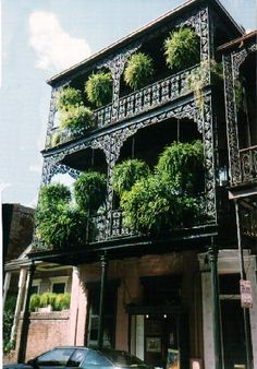 Iron lace decorates a French Quarter House. New Orleans