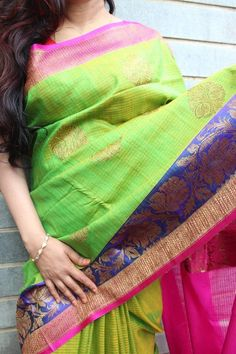 Green banaras dupion silk saree with contrast magenta border with antique gold…