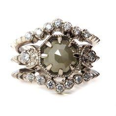 Hexagon Rose Cut Raw Diamond Moon Engagement by SwankMetalsmithing