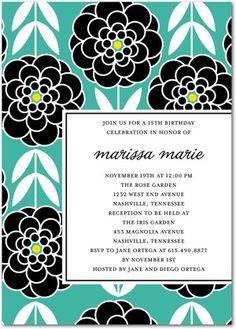 Bold Zinnias - Birthday Party Invitations in Bay or Heather | Ann Kelle