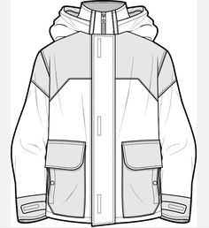 Dead End - Sketch Templates - Ideas of Sketch Templates - Jacket flat sketch Fashion Sketch Template, Fashion Design Template, Fashion Templates, Fashion Design Sketches, Clothing Templates, Clothing Sketches, Flat Drawings, Flat Sketches, Technical Drawings
