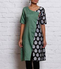 Green & Black Chanderi & Cotton Silk Angrakha Kurta