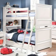 Bunk beds are fun for kids of all ages and the Elite Reflections Twin-Over-Twin Bunk Bed puts a contemporary twist on a classic design. Constructed of select wood products this unit has a rich Aspen White painted finish with matched veneers on the bed. Two traditional-style twin beds stack on top of one another for space-saving sleep space for siblings or sleepovers.An under-bed drawer box fits beneath the lower bunk and offers a large drawer for