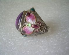 HUGE Ring Size 6.25-Chinese Enamel & Amethyst Butterfly-Vintage Sterling Silver-Cloisonne-Blue Purple Green Pink-Bold Chunky-Heirloom