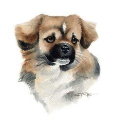 TIBETAN SPANIEL Dog Watercolor Painting ART Print by k9artgallery